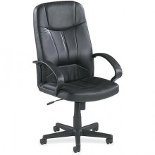 Executive Leather High-Back Chair, Black